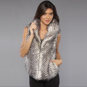 BB Dakota Striped Fur Vest